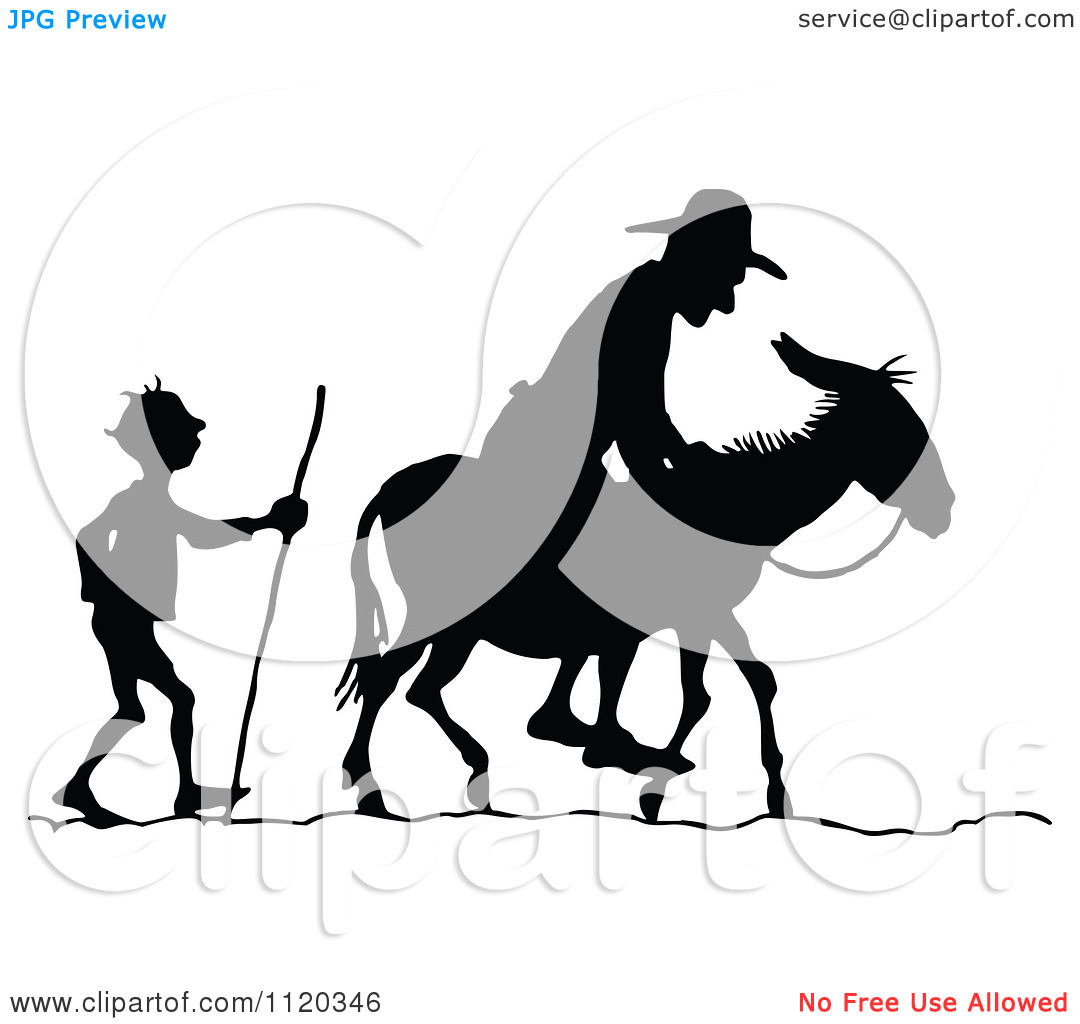 Clipart Of Silhouetted Men With A Donkey 2.