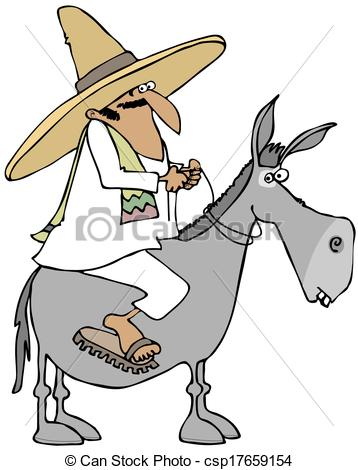Stock Illustrations of Mexican man riding a donkey.