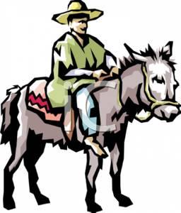 Art Image: A Hispanic Man Riding a Donkey.