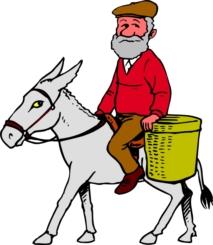 Man on a donkey clipart silhouette.