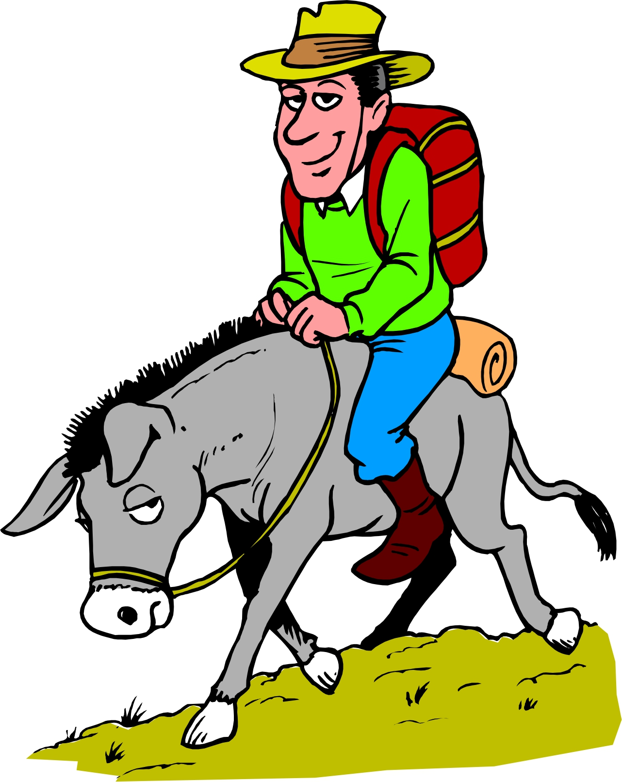 Boy and man riding mule clipart.