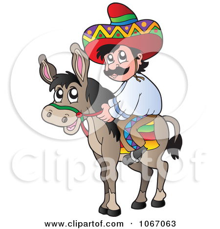Clipart Outlined Mexican Man On A Donkey.