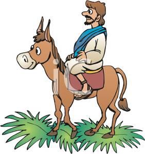 Jesus riding on a donkey clipart.