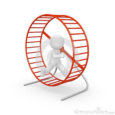 3d Man Running In The Hamster Wheel Stock Photos.