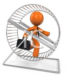Orange Man Businessman Running In a Hamster Wheel Clip Art Image.