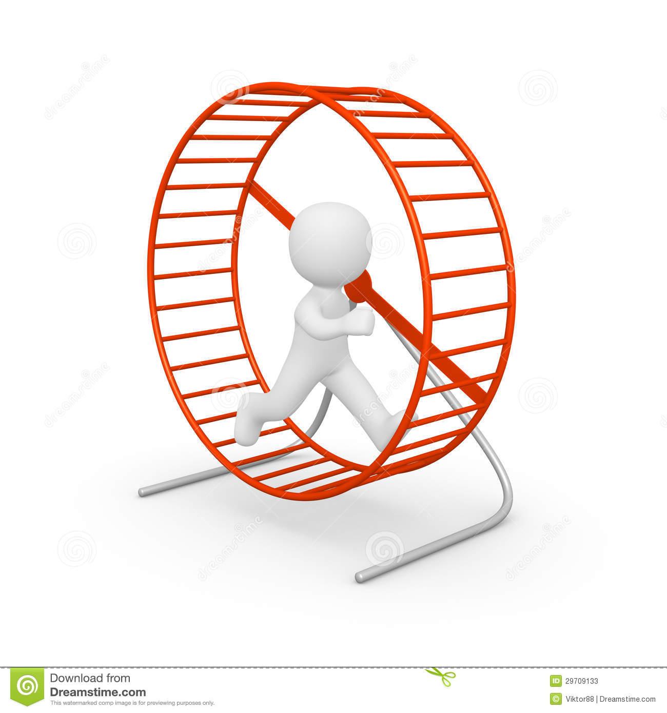 People On Hamster Wheel Clipart.