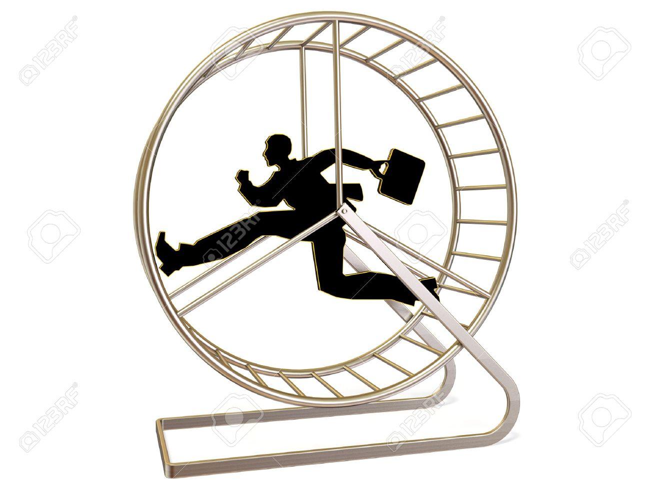 Man Running In Exercise Wheel On White Background Stock Photo.