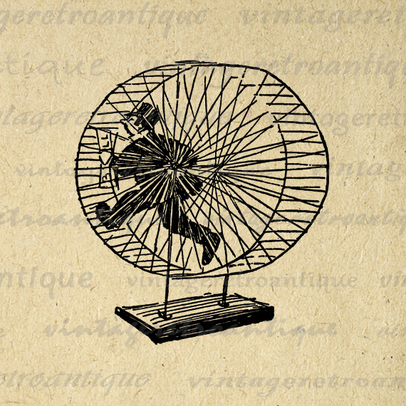 Man On Hamster Wheel Clipart.