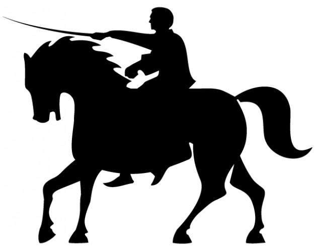 Horse rider silhouettes vector Vector.