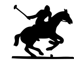 man playing polo while riding a horse silhouette.