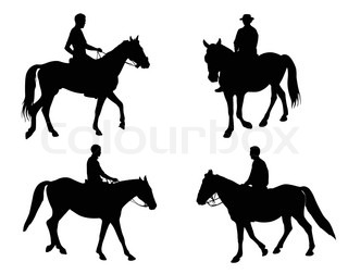 Man and horse silhouette vector.