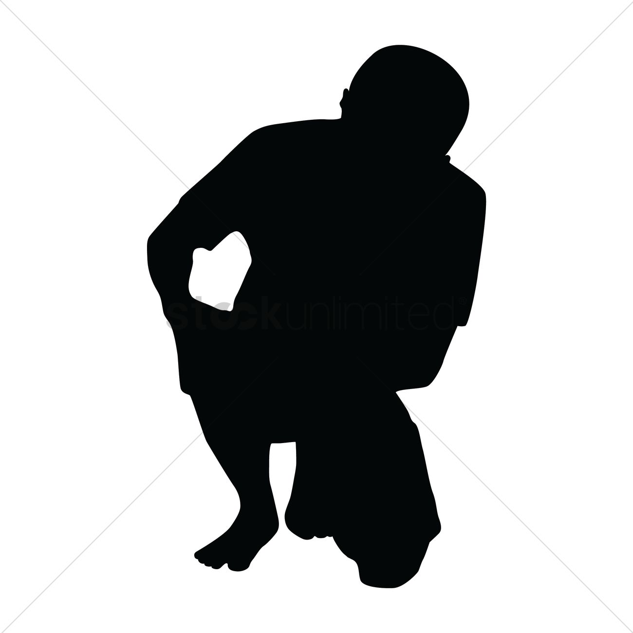 Silhouette of holding his knee Vector Image.