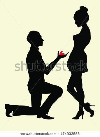 Silhouettes Man Proposing Woman While Standing Stock Vector.
