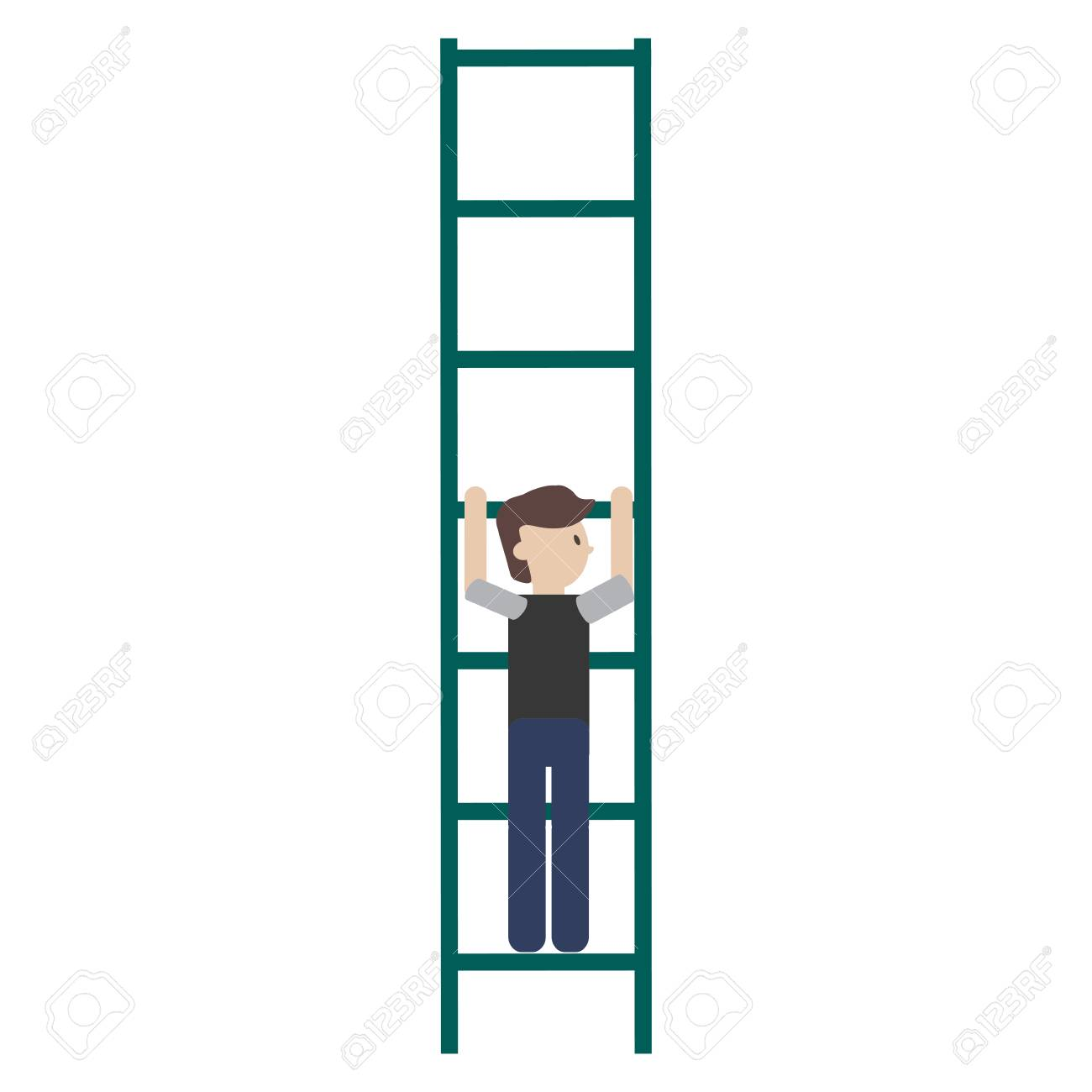 flat design man climbing ladder icon vector illustration.