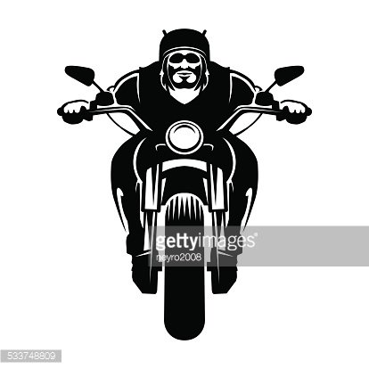 Biker icon. Man on a motorcycle Clipart Image.
