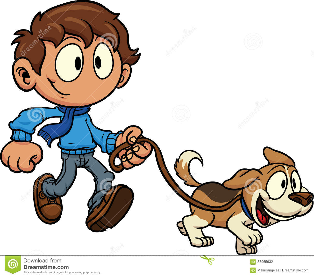 Showing post & media for Cartoon boy walking with dog.