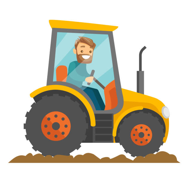Best Man Driving A Tractor Illustrations, Royalty.