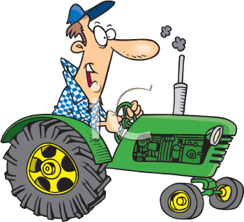 Royalty Free Clipart Image of a Man on a Tractor.