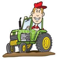 Cartoon Guy on Tractor stock vectors.