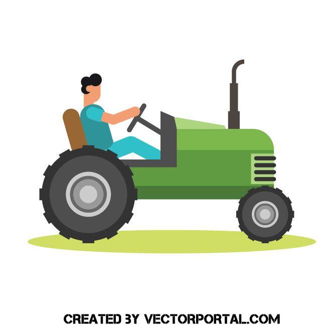 Man driving a tractor vector clip art.