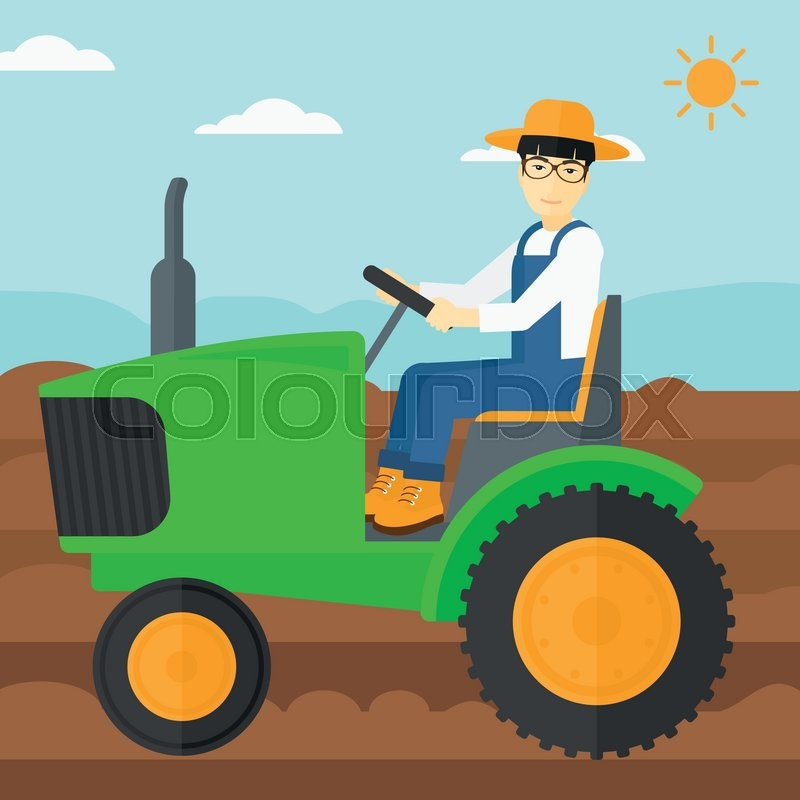 An asian man driving a tractor on a.