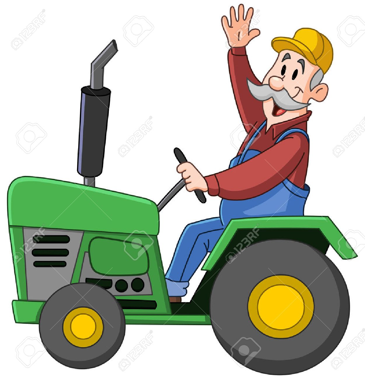 Smiling farmer driving a tractor and waving.