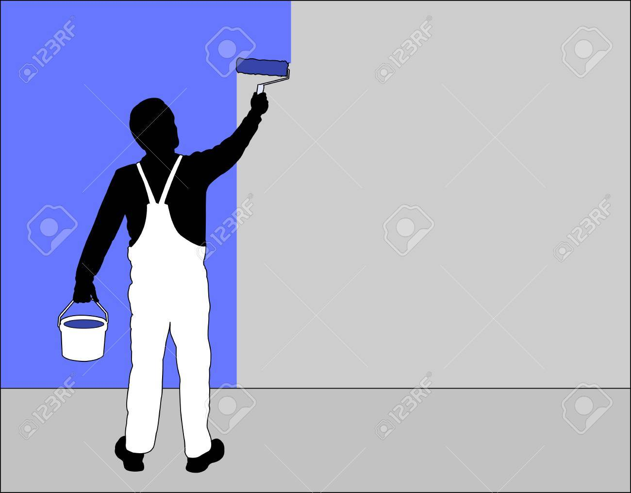 man painting wall with paint roller.