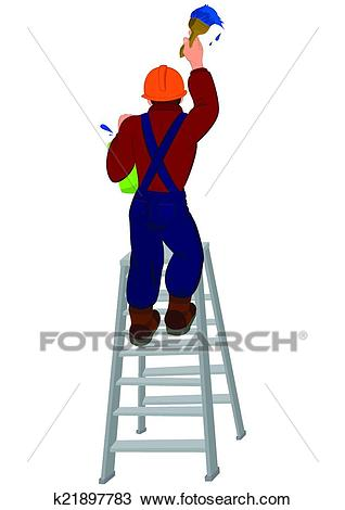 Cartoon man in hard hat on the ladder painting wall Clipart.