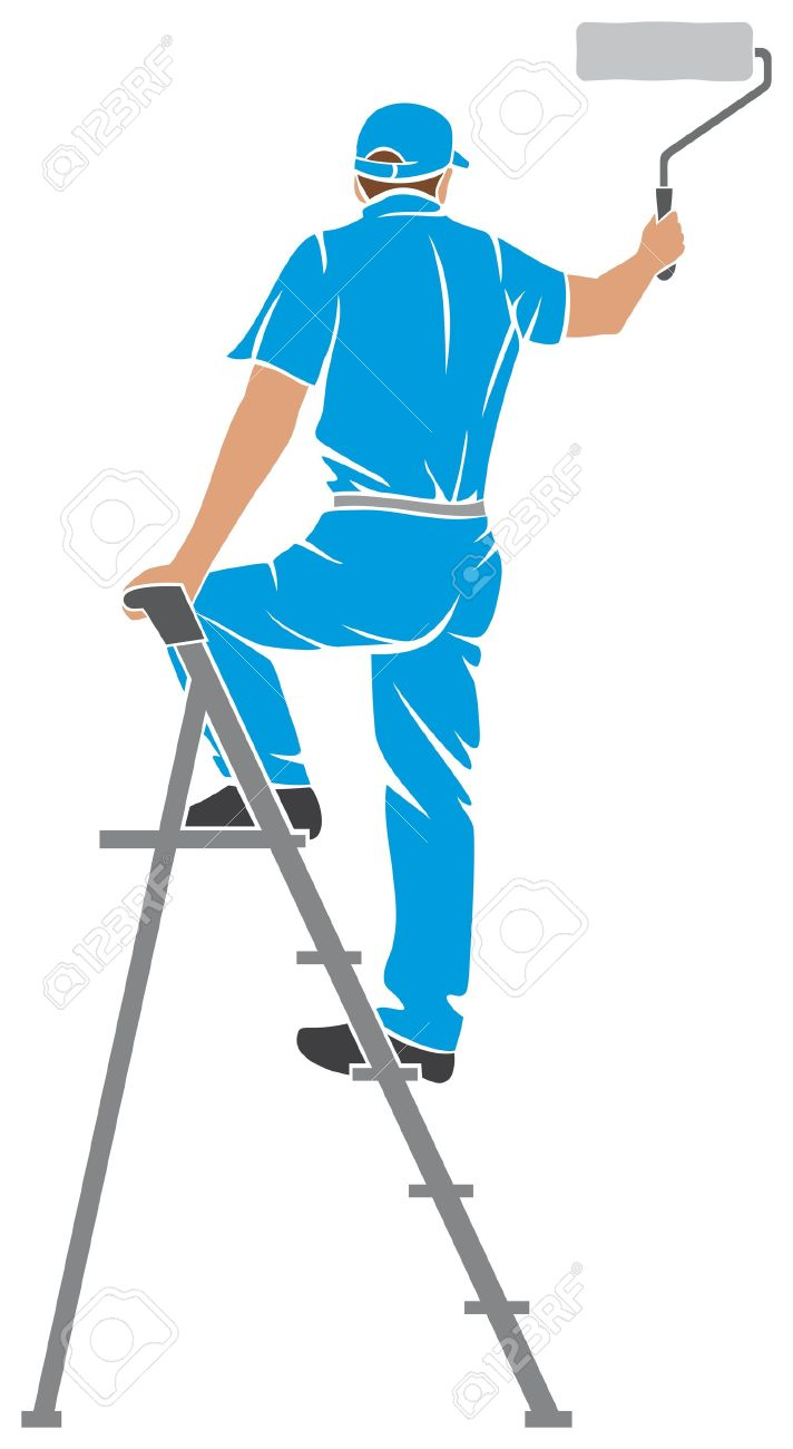 illustration of a man painting the wall painter painting with...