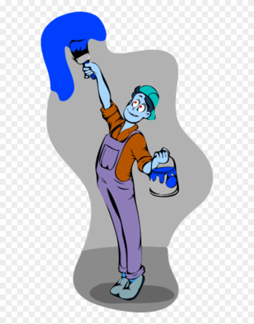Man Painting The Holding A Bucket And A Paintbrush.