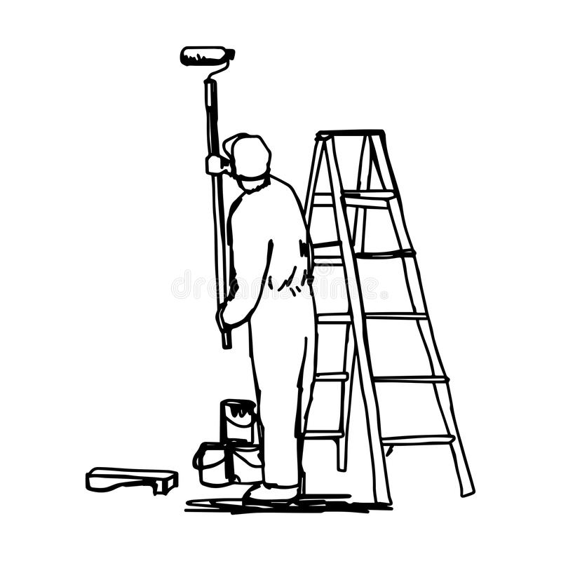Drawn Man Painting Wall White Stock Illustrations.