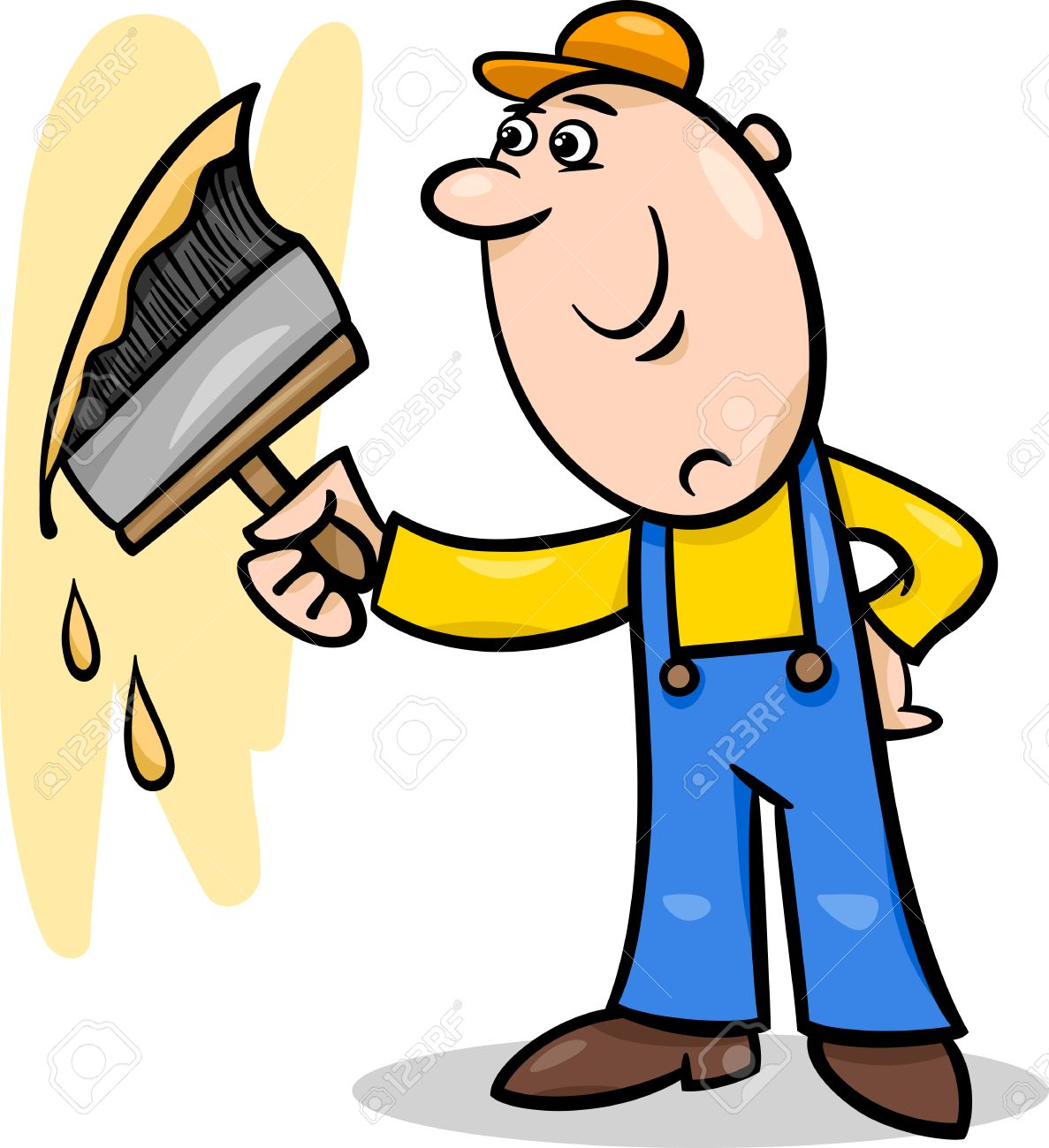 Cartoon Illustration of Worker with Big Brush painting a Wall...