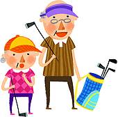 Clipart of Old Man Playing Golf k23958690.