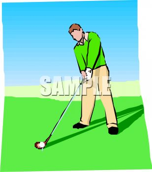Royalty Free Clipart Image: Man Playing Golf.