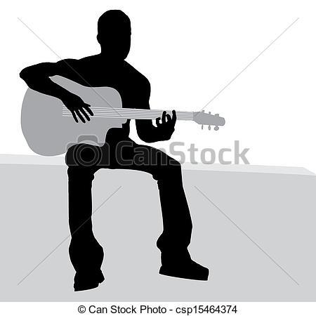 Vectors Illustration of Man playing guitar csp15464374.