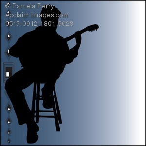 Clip Art Illustration of the Silhouette of a Man Playing a Guitar.
