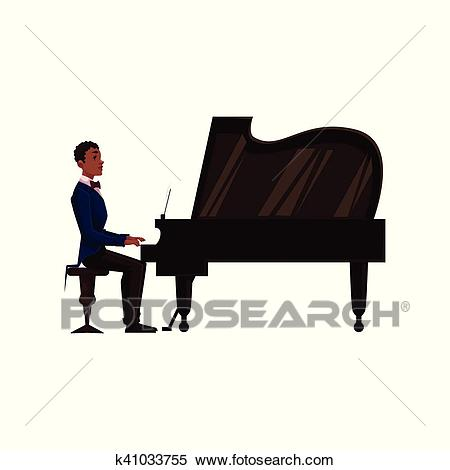 Young African American man playing grand piano with open lid Clipart.