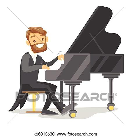 Young caucasian white man playing piano. Clipart.