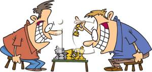 Grinning Men Playing Chess Clip Art Image.