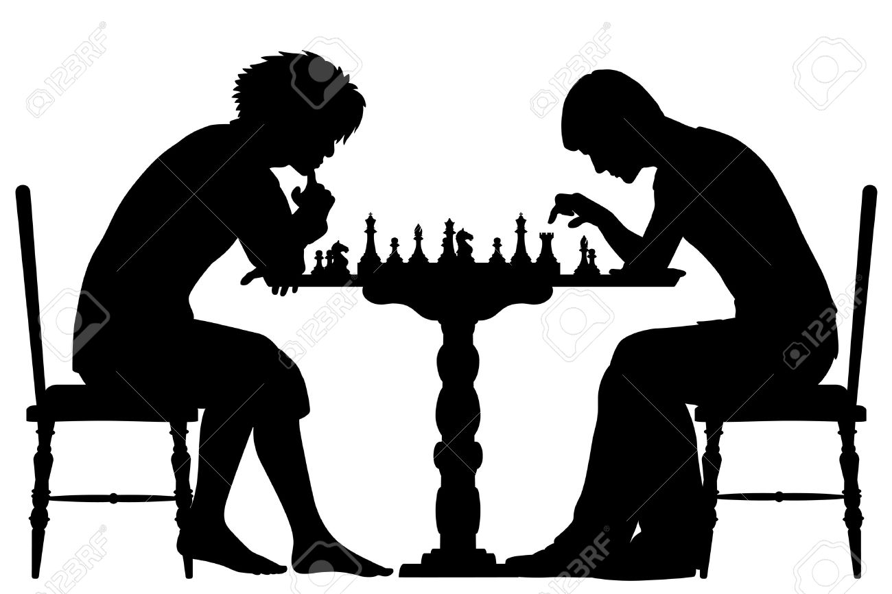 Editable Vector Silhouettes Of Two Men Playing Chess With All.
