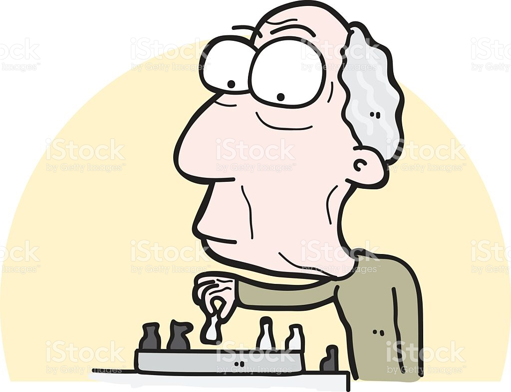 Cartoon Old Man Playing Chess stock vector art 537433096.