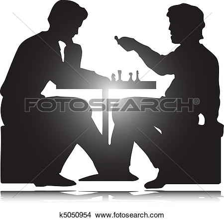 Clipart of play chess icon with two man vector illustration.