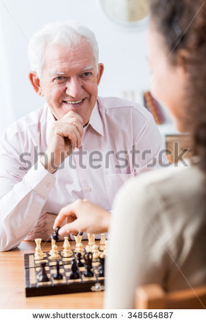 Portrait Serious Old Man Playing Chess Stock Photo 500704222.