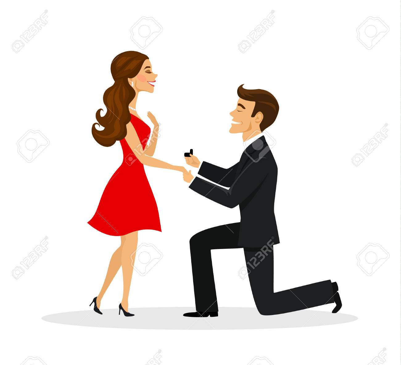Man Proposing To A Woman Standing On Knee Illustration.