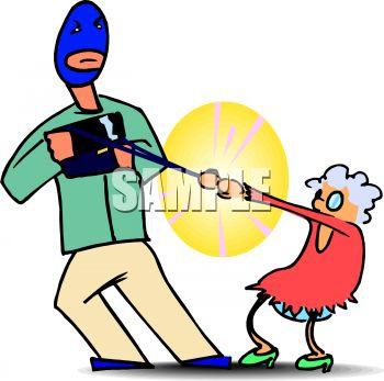Man Wearing a Ski Mask Snatching an Old Lady's Purse.