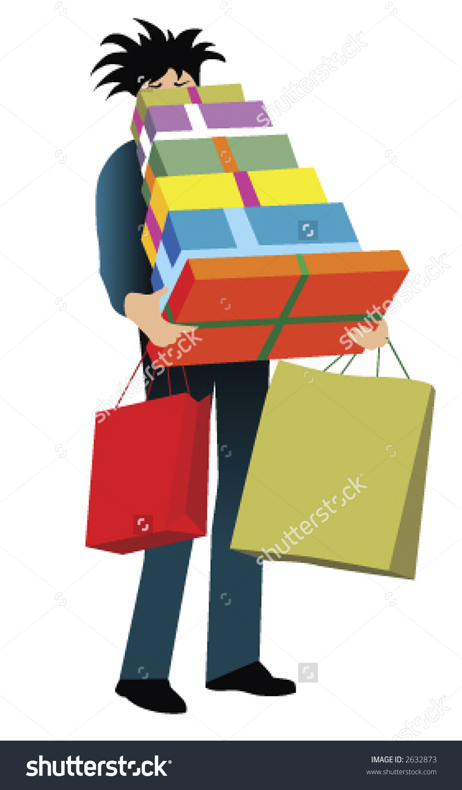 Illustration Man Carrying Shopping Bags Gifts Stock Vector 2632873.