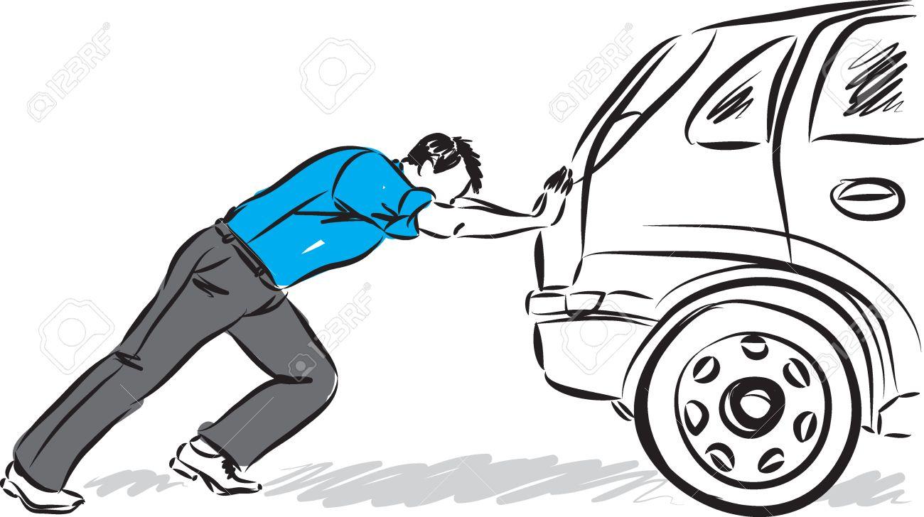 Man pushing car vector illustration.