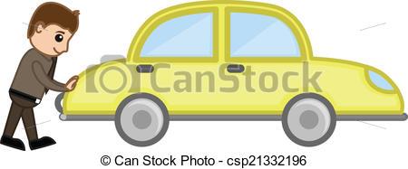 Cartoon Man Pushing Car Vector.