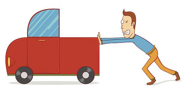 Best Man Pushing Car Illustrations, Royalty.