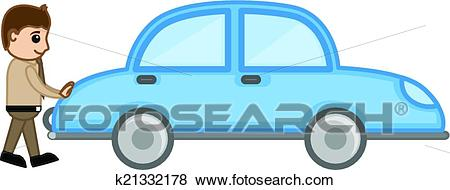 Cartoon Man Pushing Car Vector Clip Art.